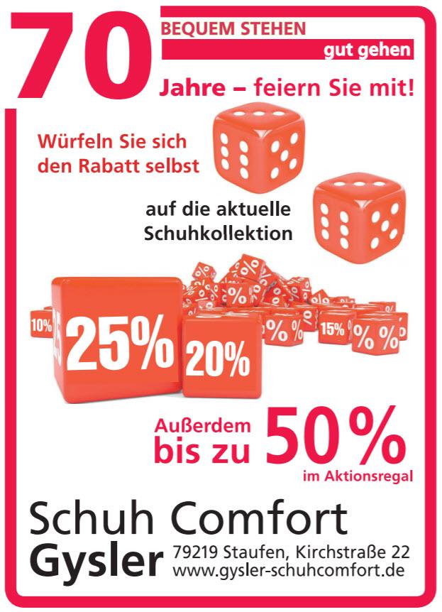 70 Jahre Schuhcomfort Gysler!